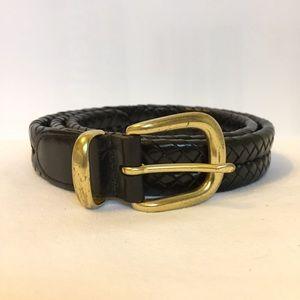 "Coach men's braided black leather belt 36"""